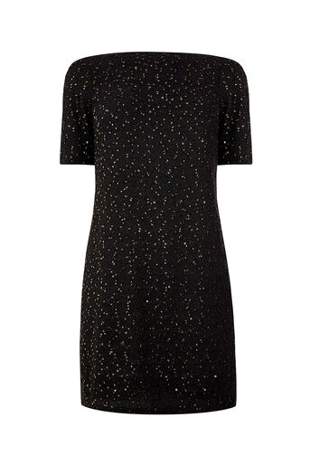 Oasis, SPOT FOIL POPCORN DRESS Multi Black 0