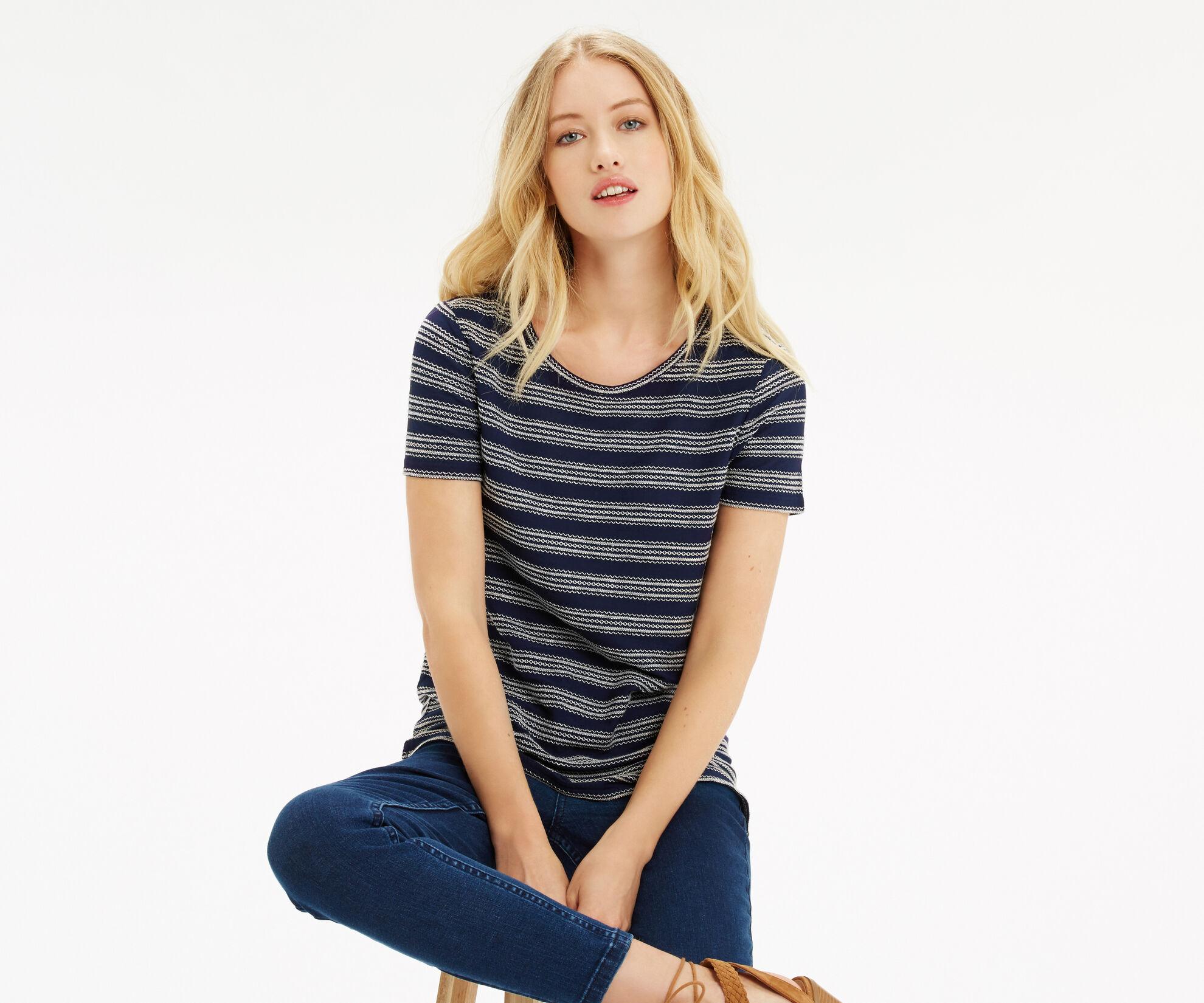 Oasis, Textured Wiggle Stripe T-Shirt Navy 1