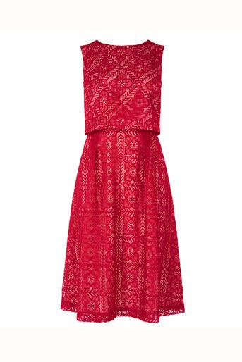 Oasis, Petite Lace Midi Dress Mid Red 0