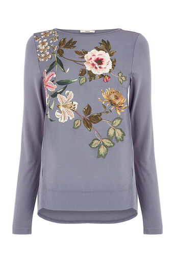Oasis, Embroidered Opium Top Mid Grey 0