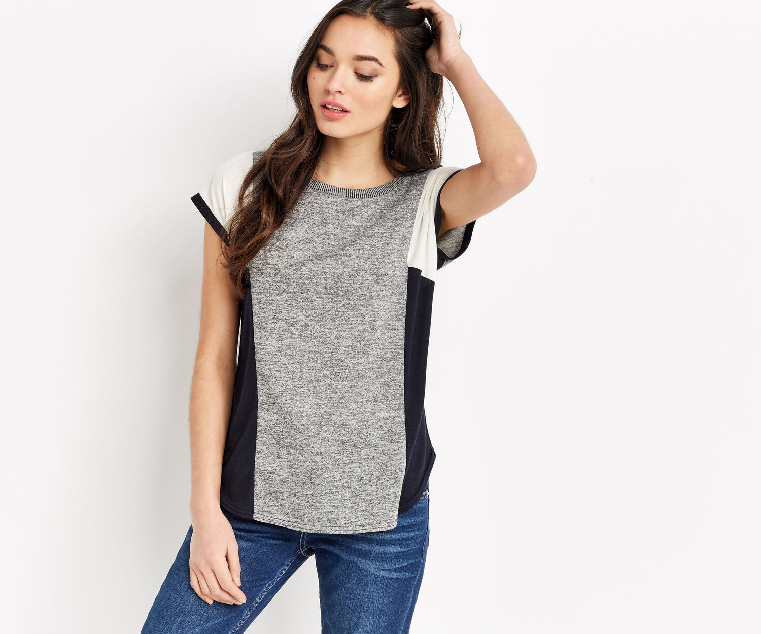 Oasis, SIDE PATCHED COLOUR BLOCK TEE Multi Blue 1