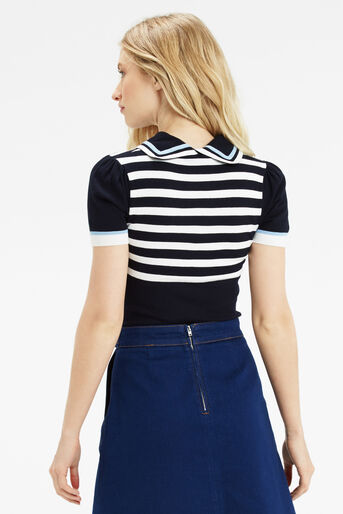 Oasis, Sailor Knitted Top Multi Blue 3