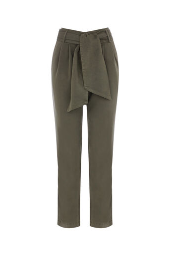 Oasis, TENCEL TIE BELT TROUSER Khaki 0