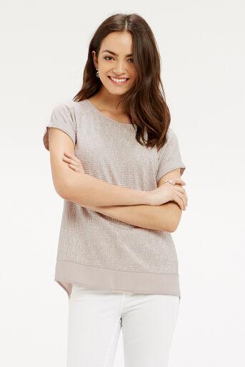 Oasis, Crinkle Sparkle T-Shirt Mid Neutral 1