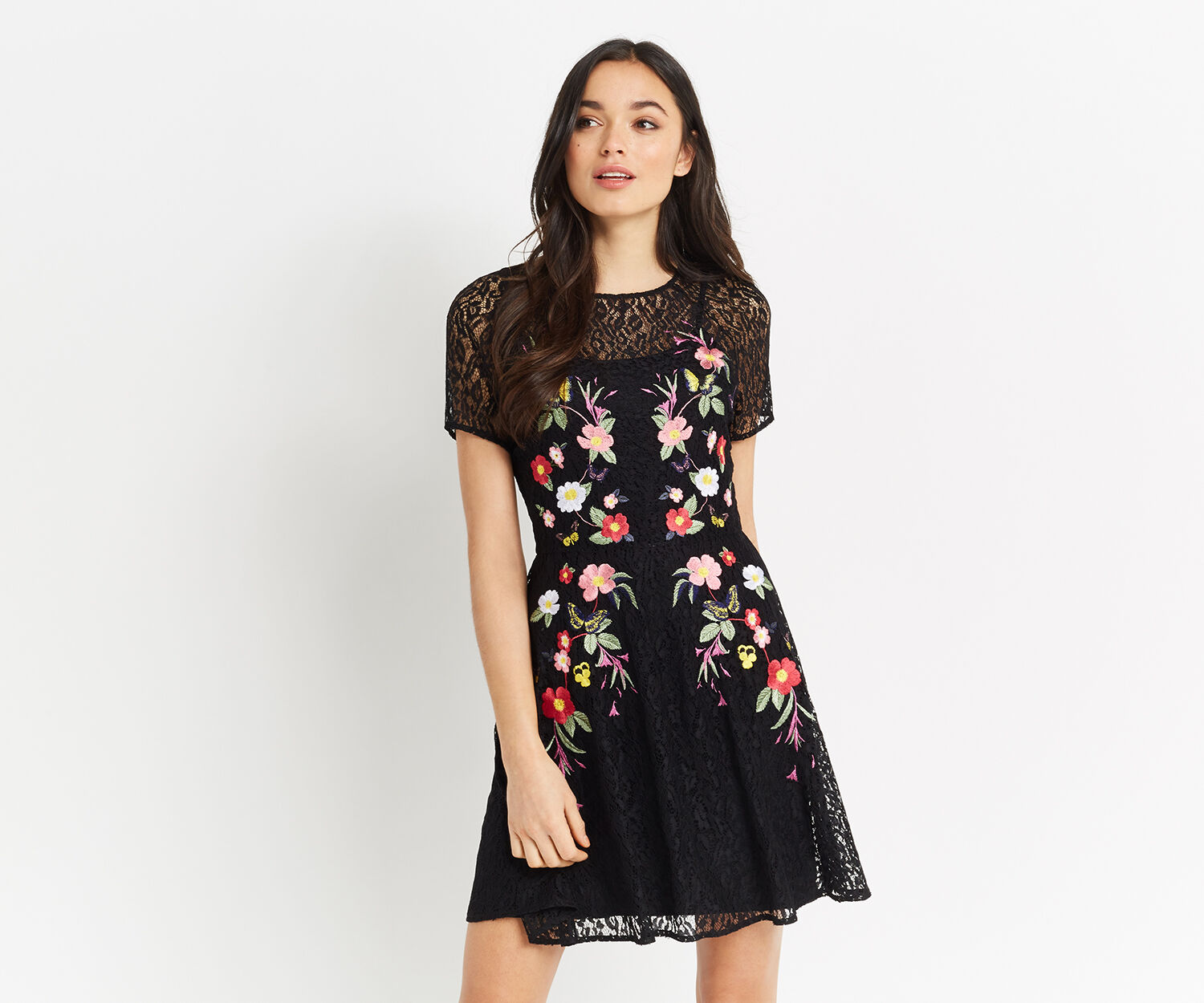 Oasis, EMBROIDERED LACE SKATER DRESS Black 1
