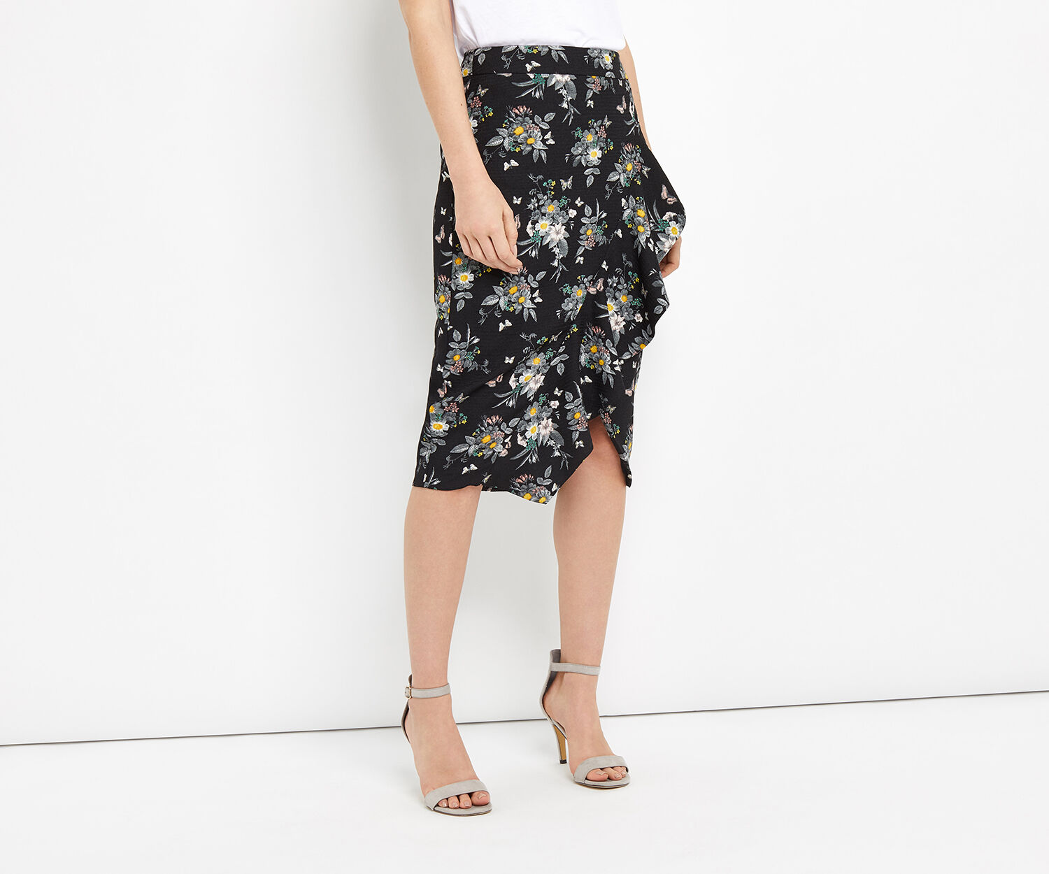 Oasis, RUFFLE PENCIL SKIRT Multi 1