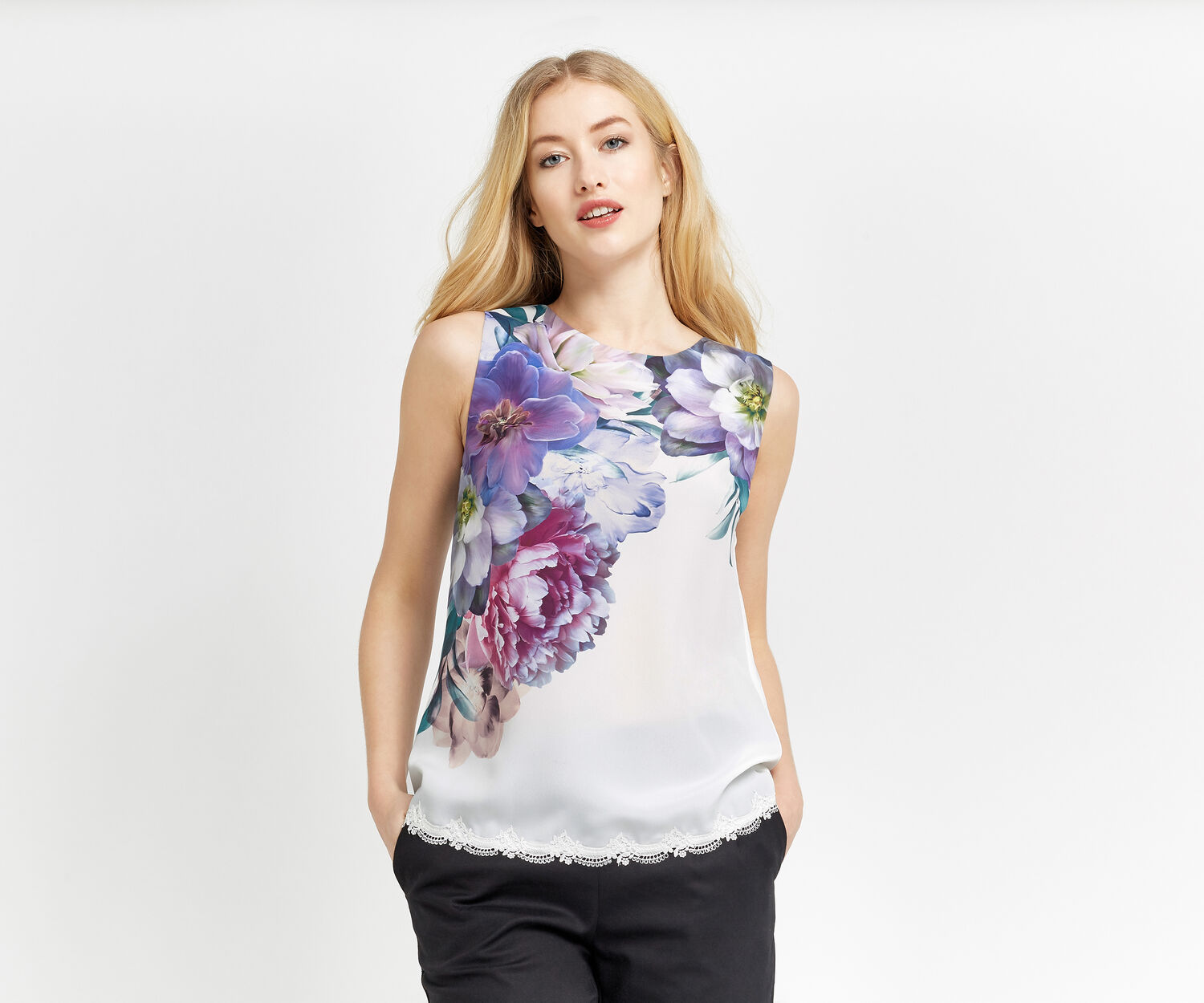 Oasis, WILD BLOOM LACE TRIM TOP Multi Natural 1