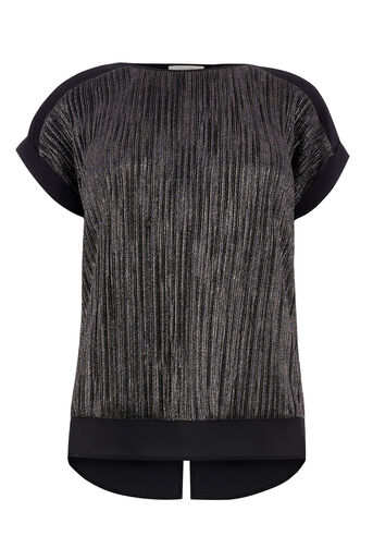 Oasis, CRINKLE ROLL SLEEVE TOP Black 0