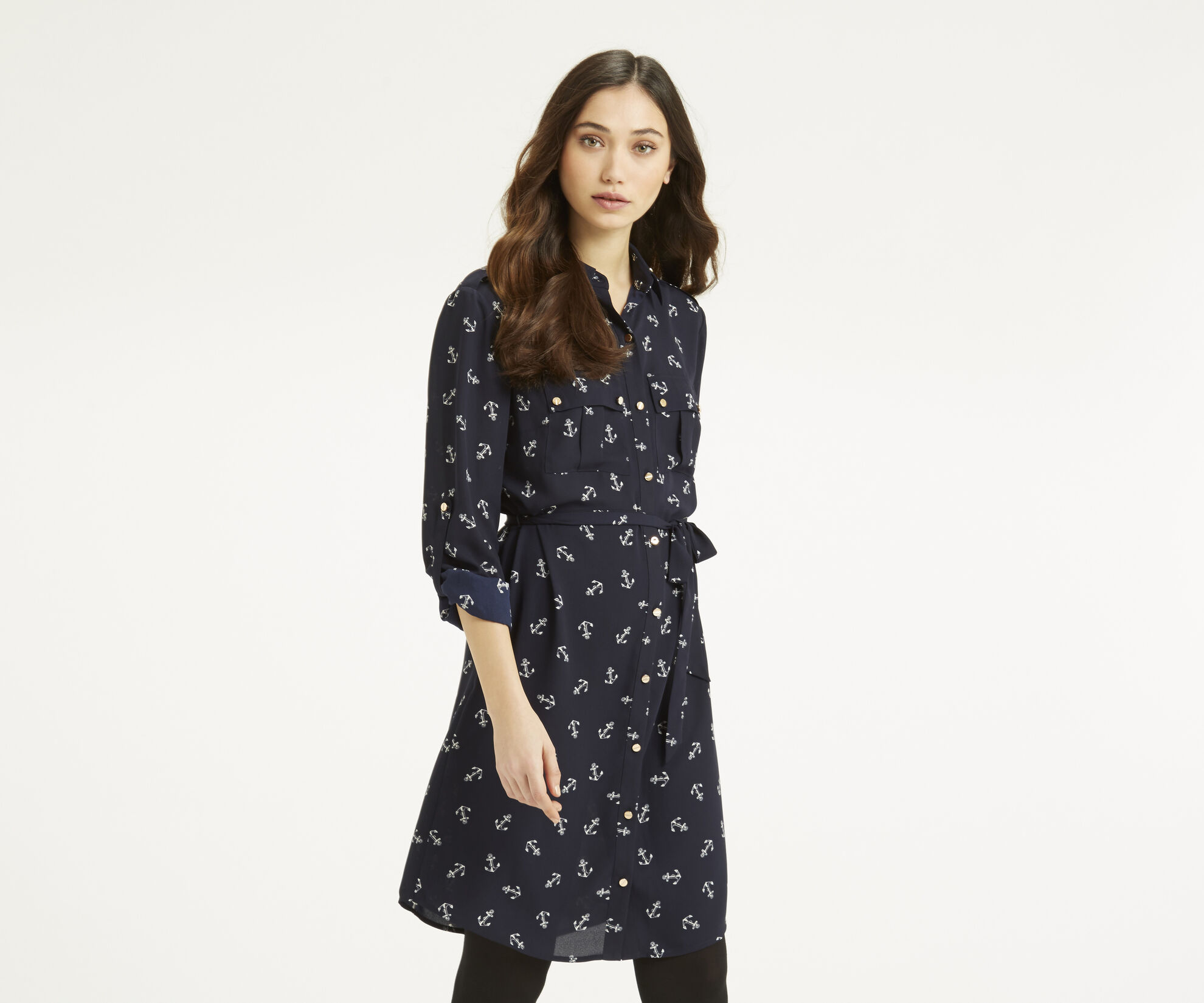 Oasis, Anchor Shirt Dress Multi Blue 1