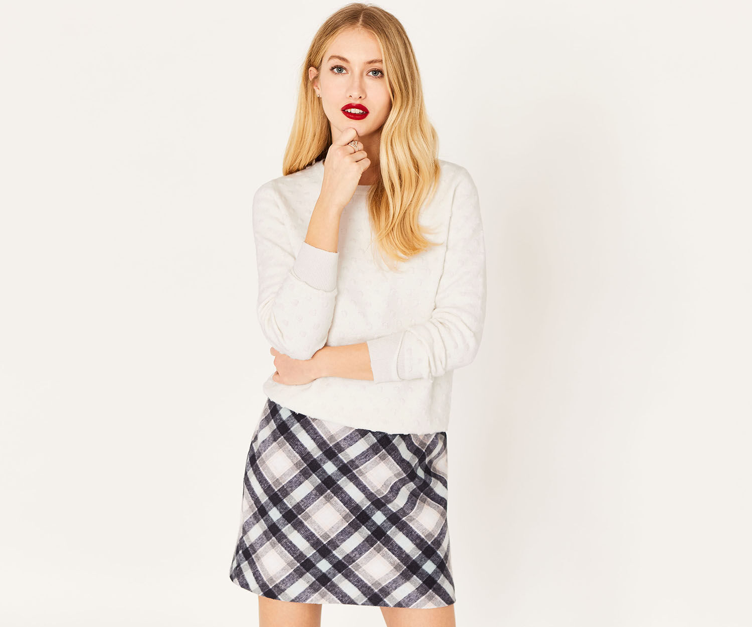 Oasis, TEXTURED SPOT KNIT Off White 1