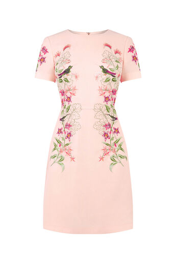 Oasis, EMBROIDERED SHIFT DRESS Mid Neutral 0