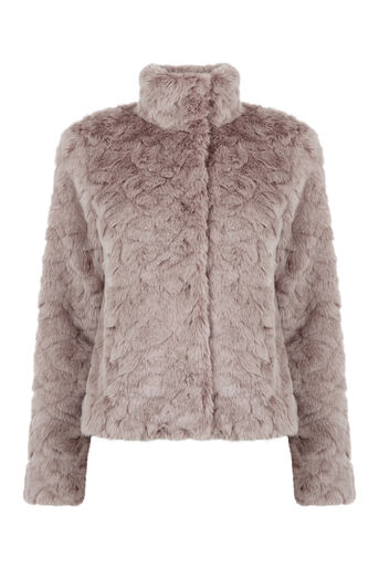 Oasis, SHORT FAUX FUR COAT Mid Neutral 0