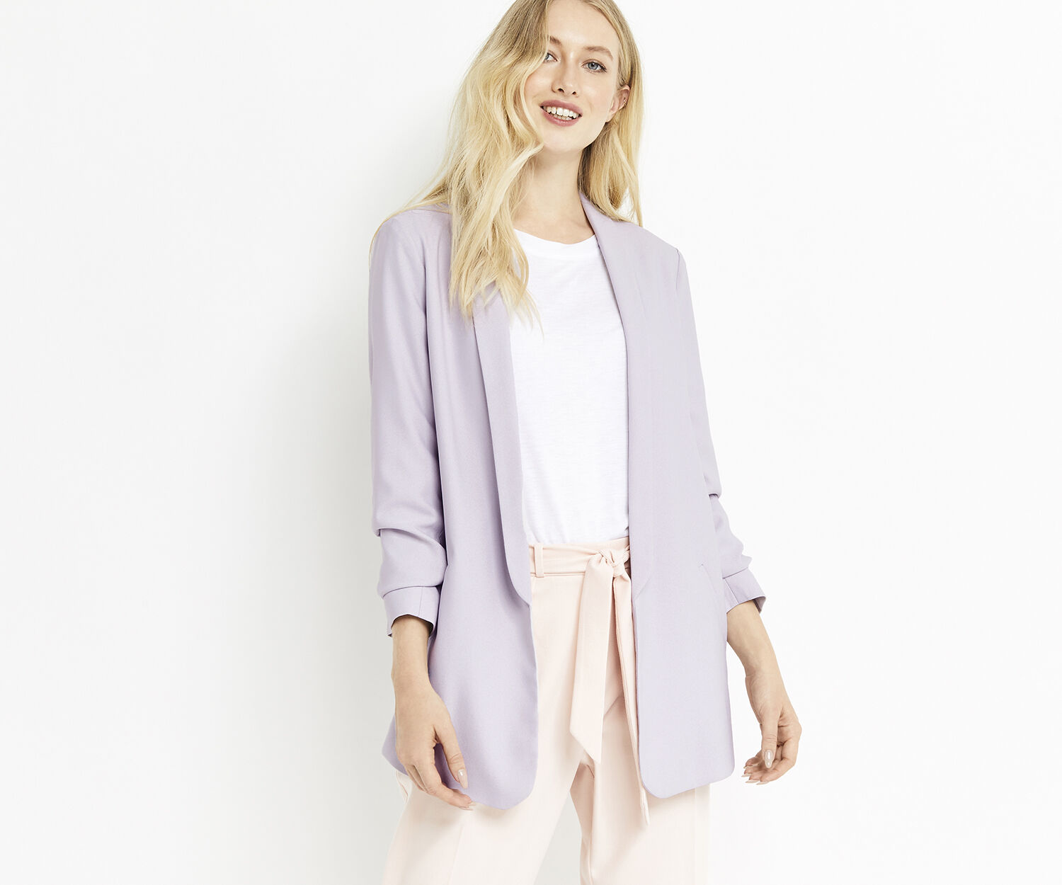Oasis, ROUCHED SLEEVE BLAZER Pale Grey 1