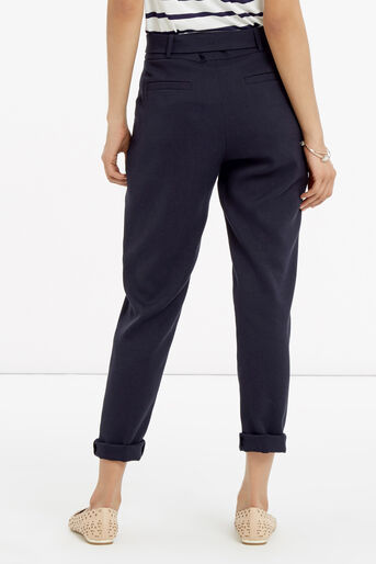 Oasis, Belted Peg Trousers Navy 2