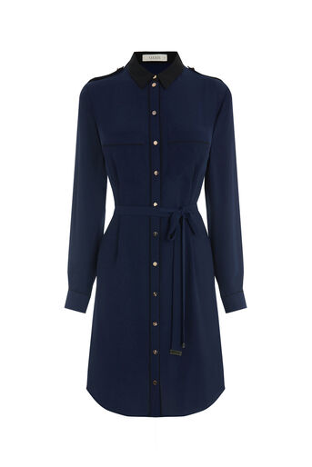 Oasis, UTILITY PIPED SHIRT DRESS Navy 0
