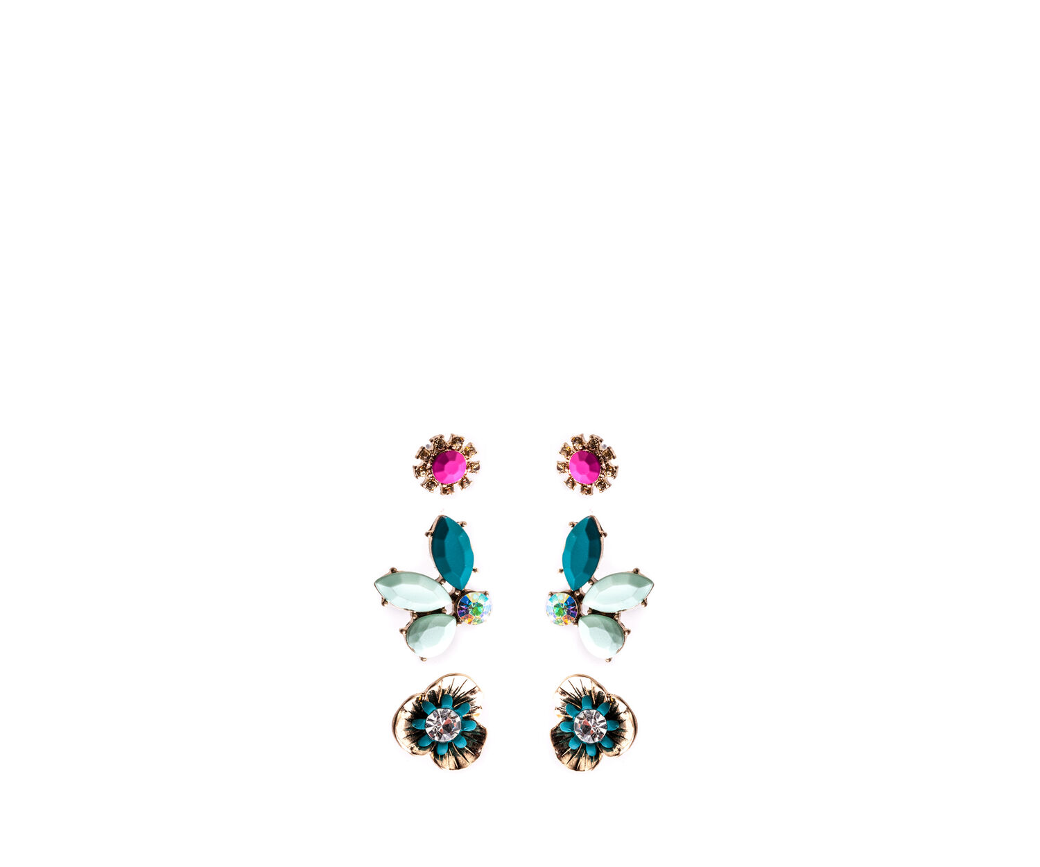 Oasis, 3 PACK TROPICAL STUDS Multi Gold 1