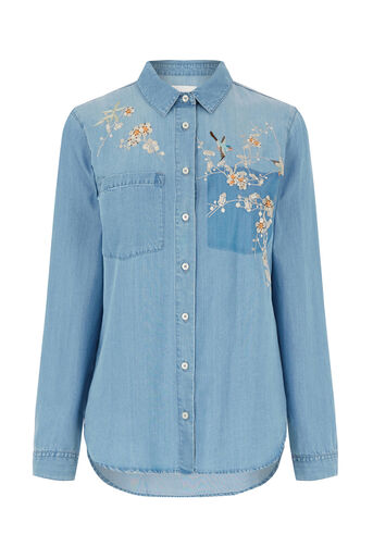Oasis, Blossom embroidered shirt Denim 0