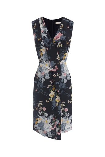 Oasis, BOTANICAL BOUQUET SILK DRESS Multi Blue 0