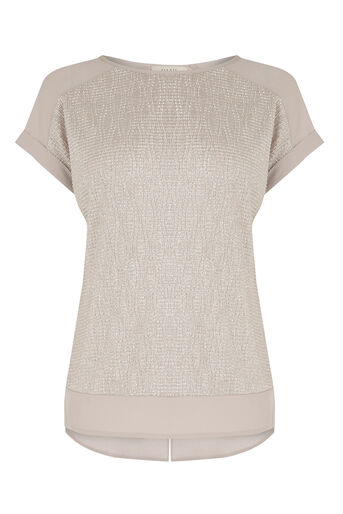 Oasis, Crinkle Sparkle T-Shirt Mid Neutral 0