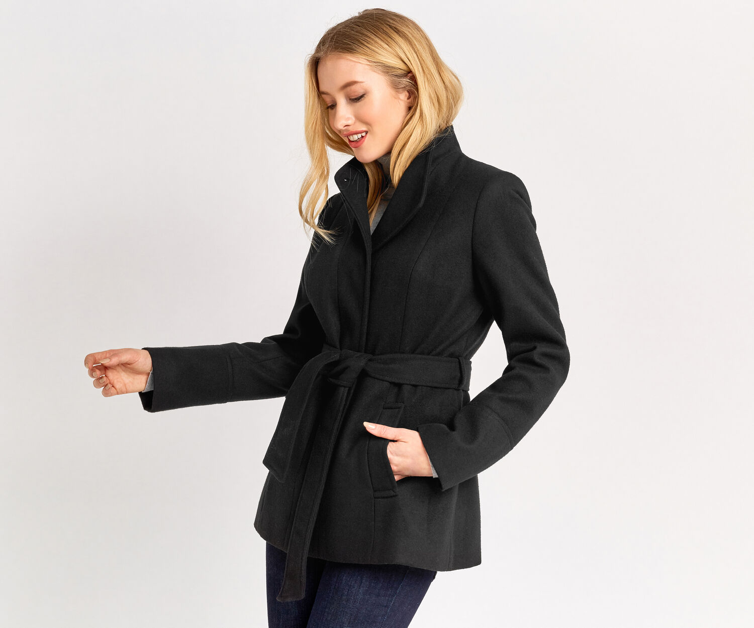 Oasis, PHILLIPA FUNNEL NECK COAT Black 1