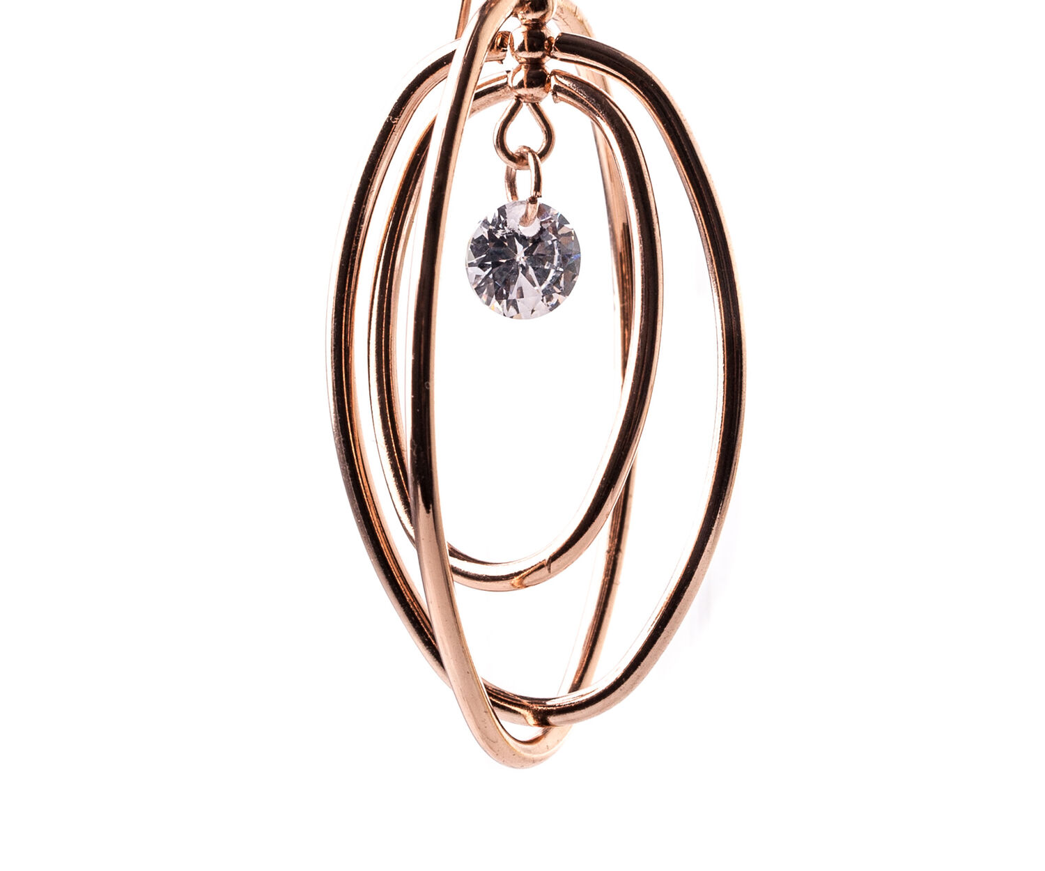 Oasis, OVAL DROP HOOPS Rose Gold 1