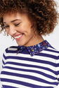 Oasis, Stripe and printed collar knit Multi Blue 4