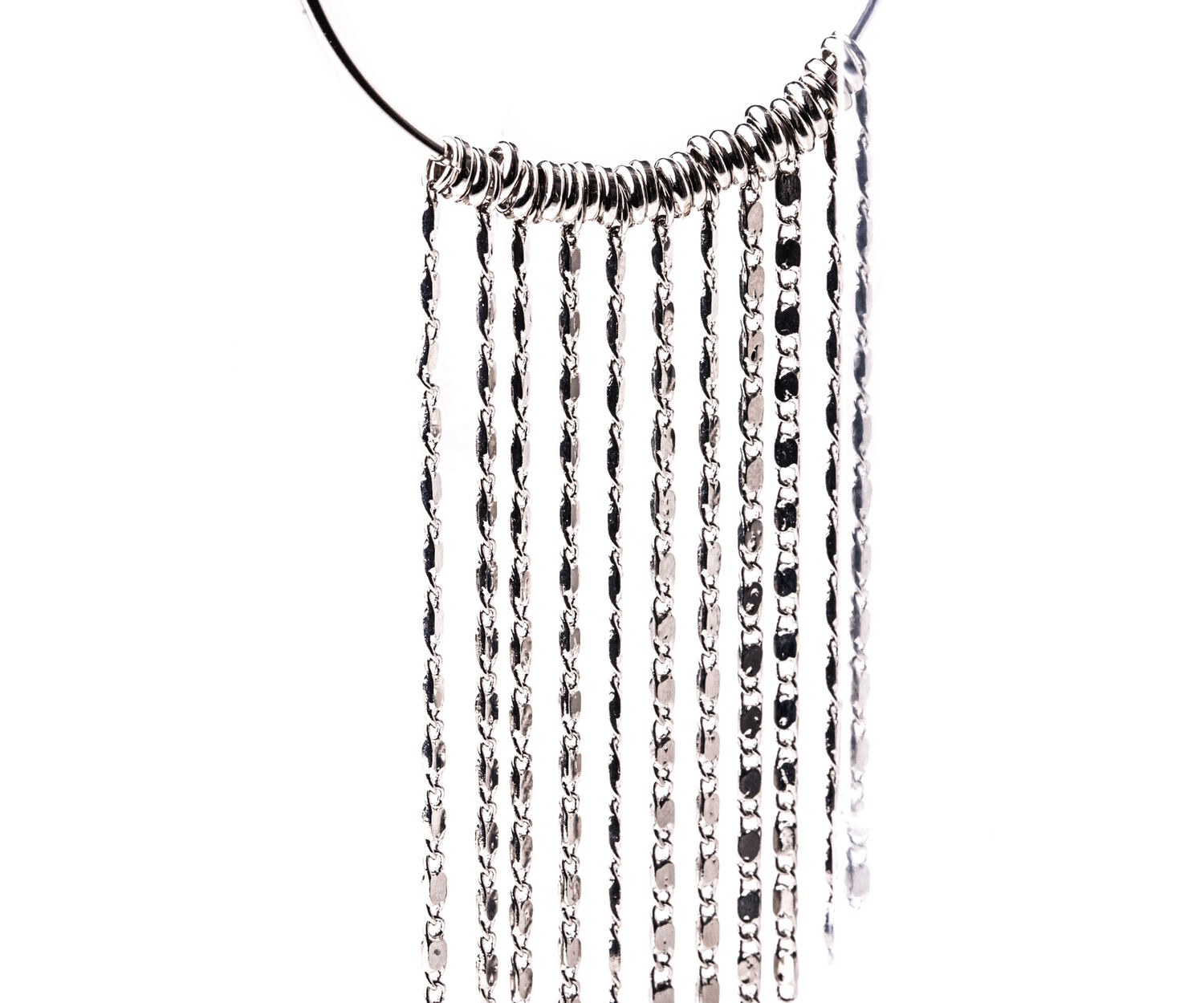 Oasis, TASSLE HOOP EARRINGS Silver 1