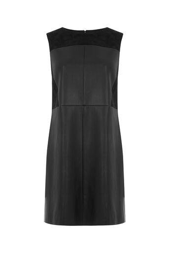 Oasis, PATCHED FAUX LEATHER DRESS Black 0
