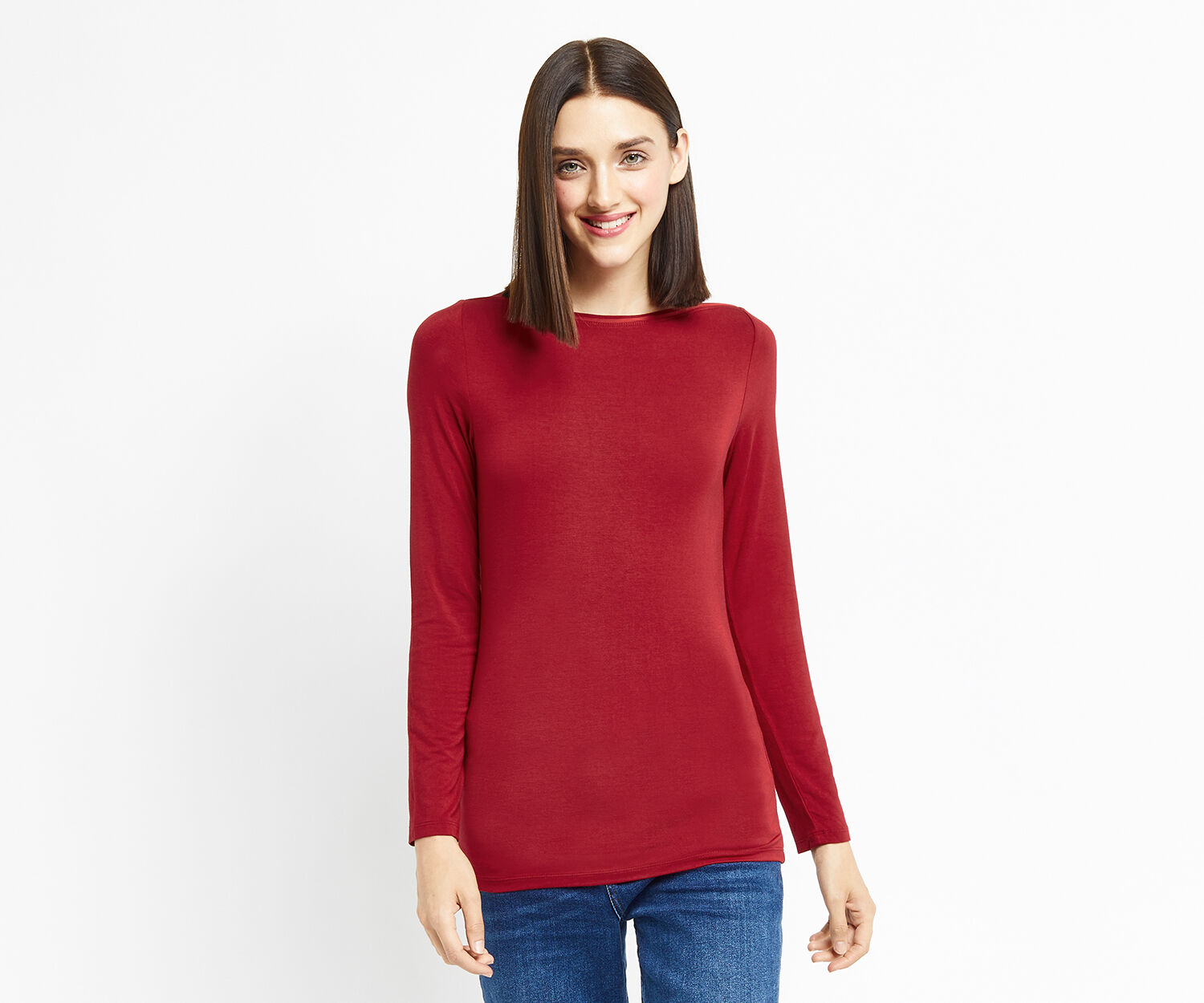 Oasis, ENVELOPE NECK TOP Mid Red 1