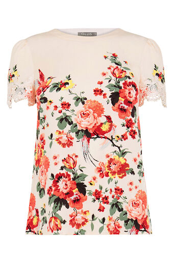 Oasis, ROMANTIC ROSE LACE TRIM TEE Multi Natural 0