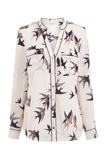 Oasis, BIRD PIPED SHIRT Multi Natural 0