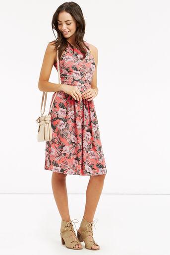 Oasis, Tropical Dress - Longer Length Multi Orange 2