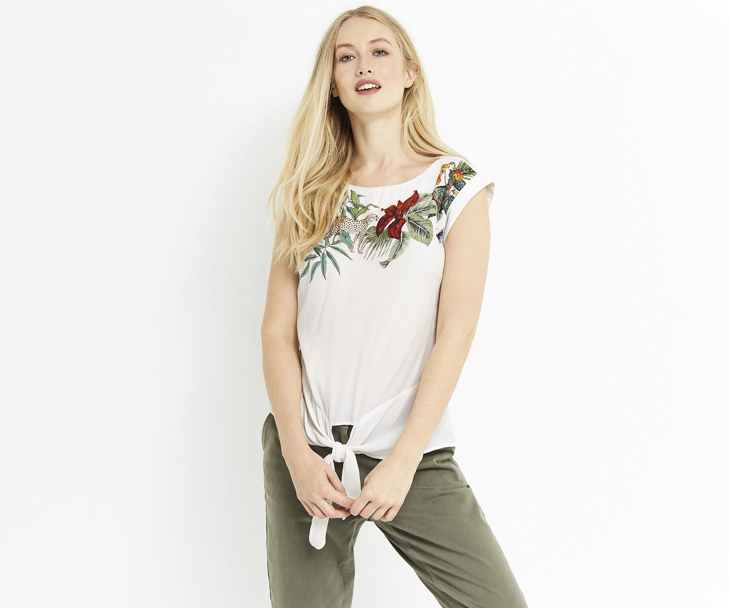 Oasis, ZSL TIE FRONT TEE Multi Natural 1