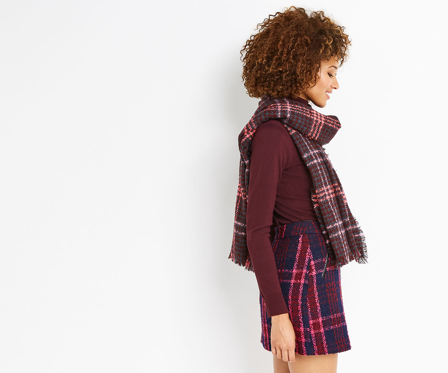 Oasis, WINDOW CHECK DOGTOOTH SCARF Mid Pink 1
