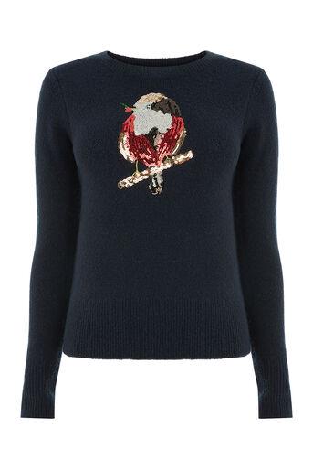 Oasis, Robin and holly xmas jumper Navy 0