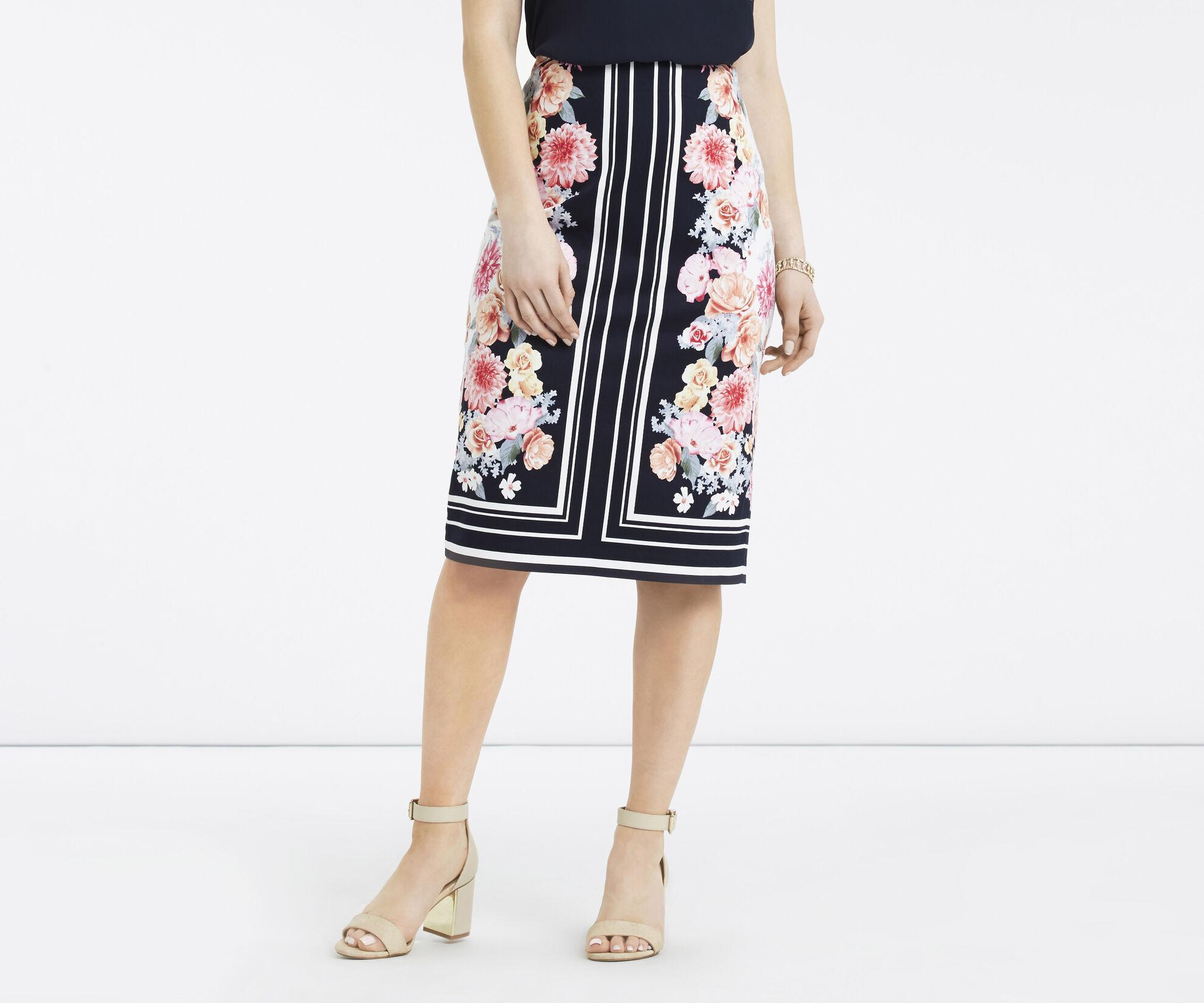 Oasis, Petite Scarf Floral Skirt Multi Blue 1