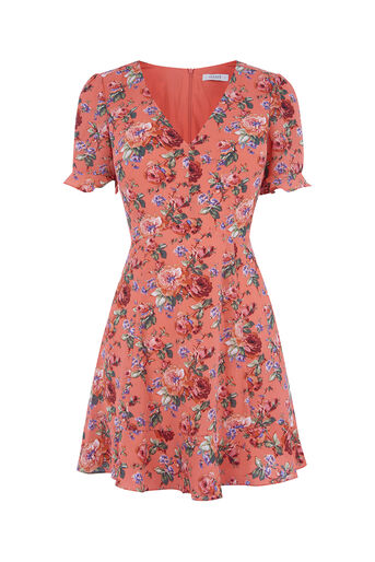 Oasis, SHORT UTILITY ROSE TEA DRESS Multi Red 0