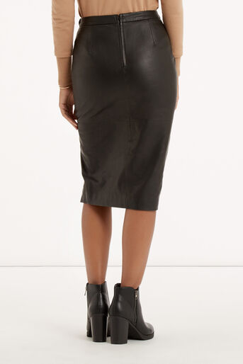 Oasis, Leather Wrap Pencil Skirt Black 3