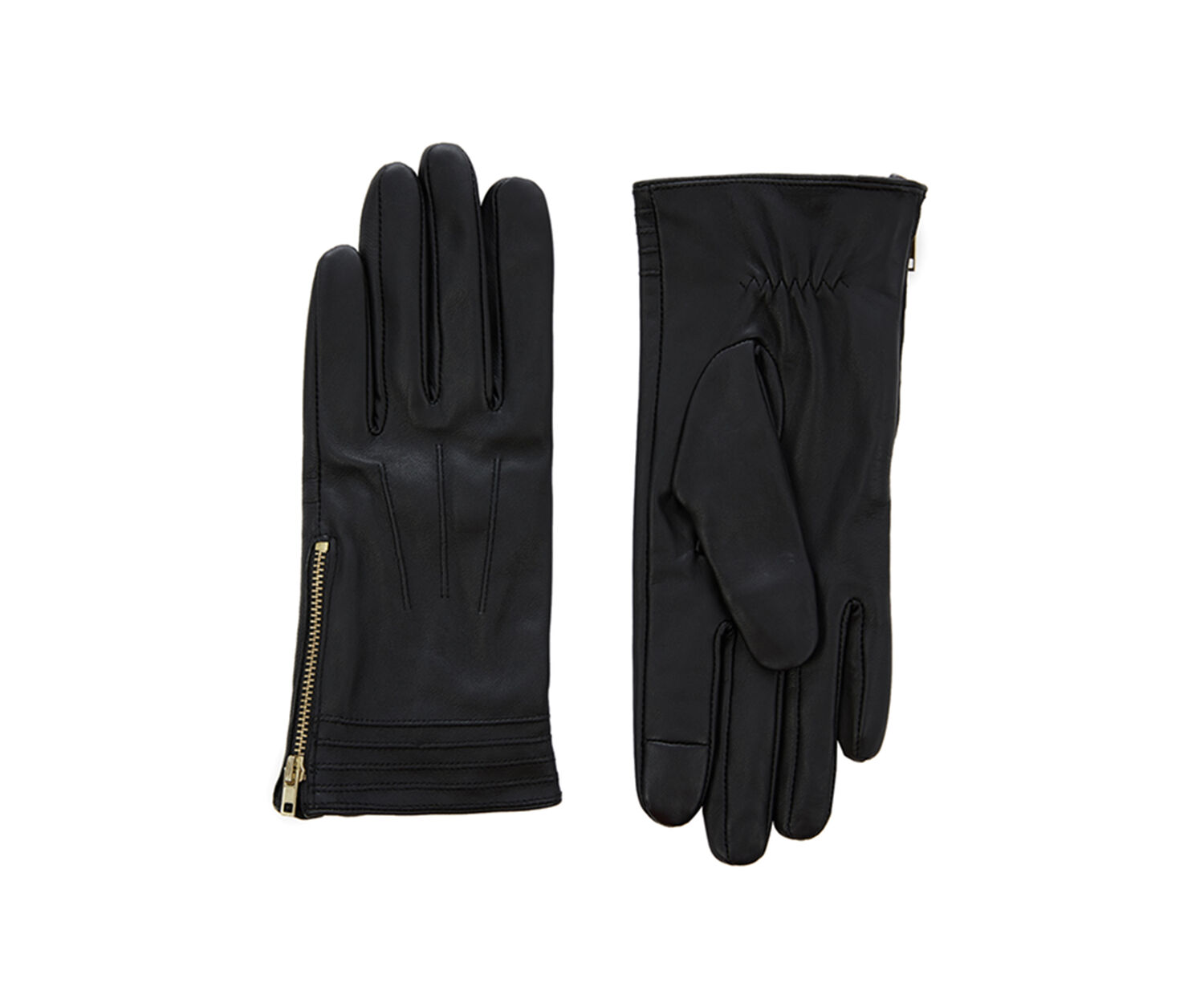 Oasis, LEATHER SIDE ZIP GLOVE Black 1