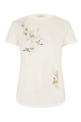 Oasis, Spring embroidered tee Off White 0