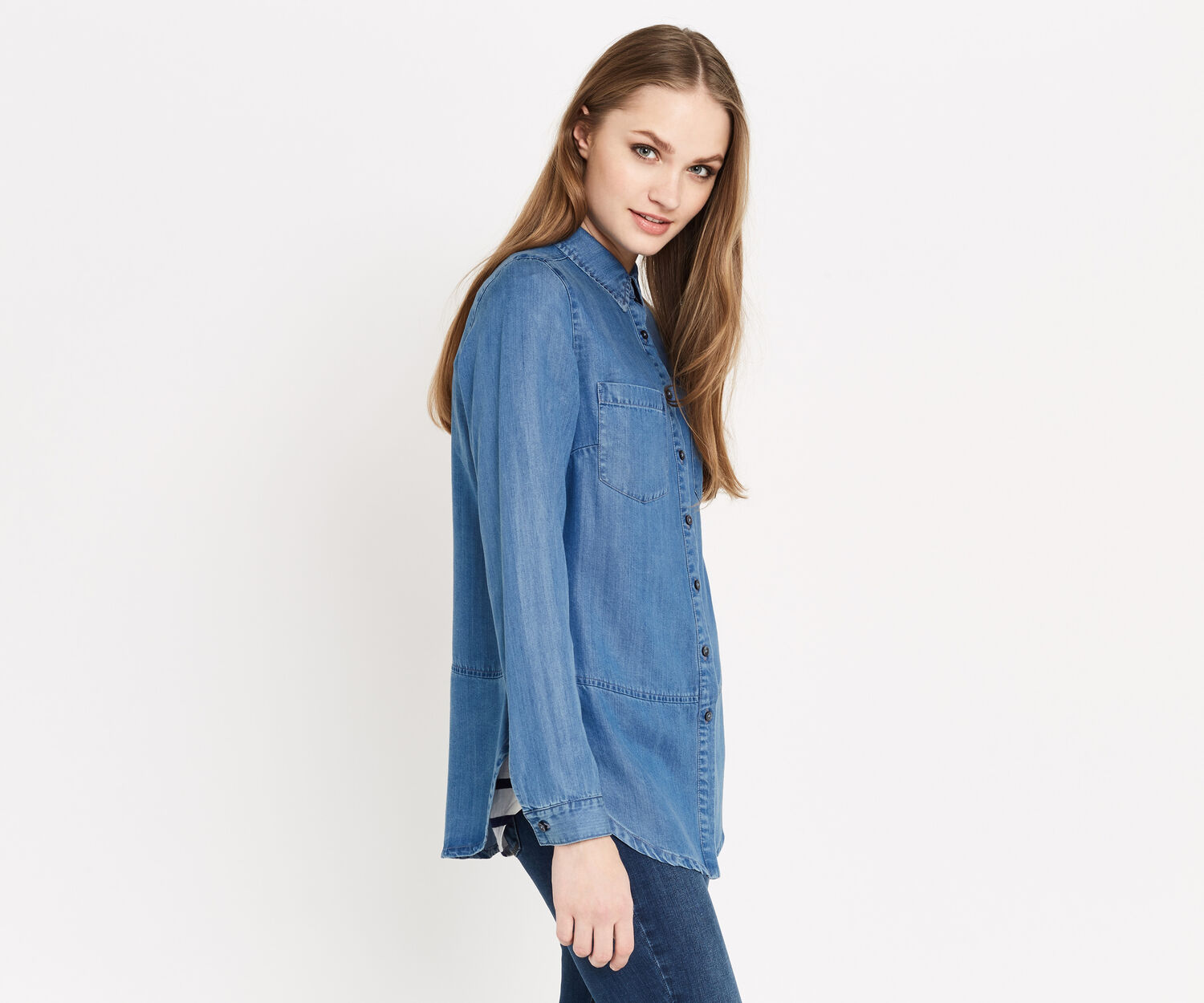 Oasis, GEORGIE DENIM SHIRT Denim 1