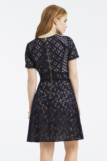 Oasis, Petite Patched Lace Skater Navy 3