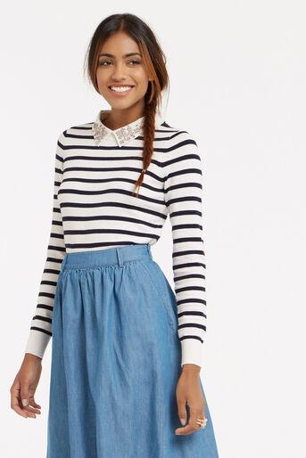 Oasis, Stripe embellished collar knit Multi 1