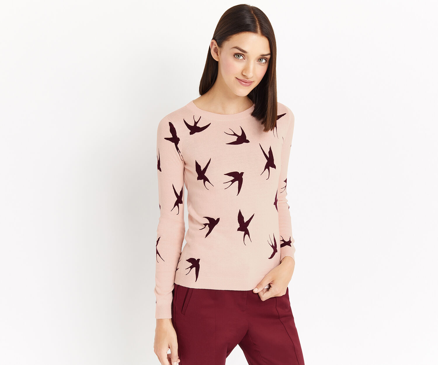 Oasis, SHADOW BIRD KNIT Pale Pink 1