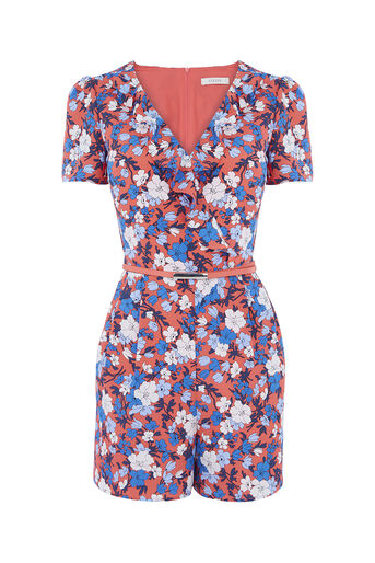 Oasis, FRILL NECK PLAYSUIT Multi Red 0