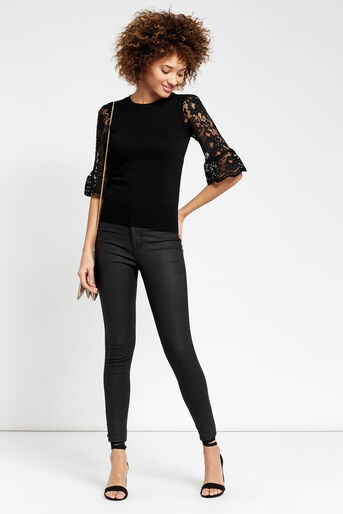 Oasis, Lace fluted sleeve top Black 2