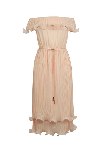 Oasis, Ruffle Bardot Midi Dress Mid Neutral 0