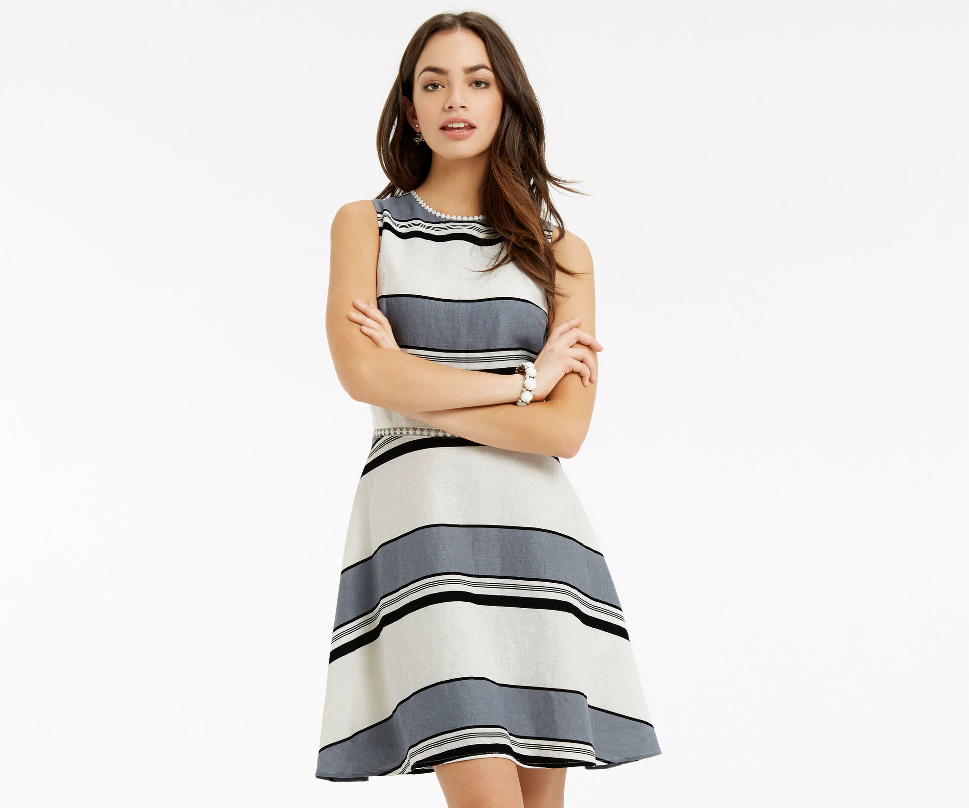 Oasis, Stripe Linen Skater Dress Multi 1