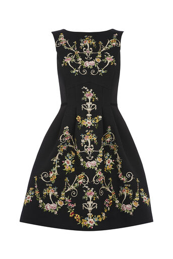 Oasis, EMBROIDERED JACQUARD DRESS Black 0