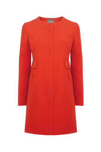 Oasis, COLLARLESS COAT Mid Orange 0